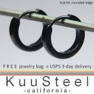 Mens Earrings Black Hoop Modern Slim - Earrings For Men  Discreet Rounded Edge  (#133A)
