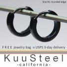 Mens Earrings Black Hoop Modern Slim - Earrings For Men – Discreet Rounded Edge  (#133A)