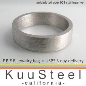 Men's sterling silver wedding band, 6mm wide silver brushed ring, matte finish