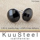 Mens Black Diamond Earrings 7mm-Steel Stud Earrings for Men- Black CZ Diamond (#423)