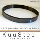 Mens Accessories - Black Bracelet Bangle For Men - Steel For Men Slim (#660A)