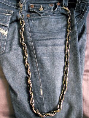 Biker wallet chain with split ring and clasp, 619F