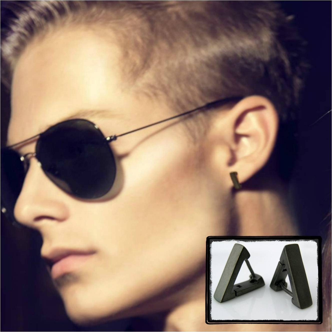 Mens Hoop Earring In Black Gold Triangle For