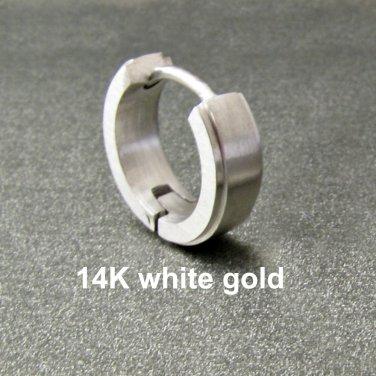 Mens earring, solid white gold huggie hoop earring, 14K single earring, E001 MWSG