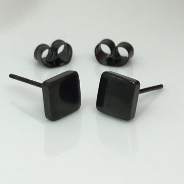 Men's stud earrings, black square stainless steel stud earrings for men, EC420F