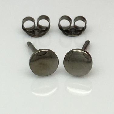 Men's stud earrings handmade from sterling silver, dark grey, flat disc studs, 4205SB