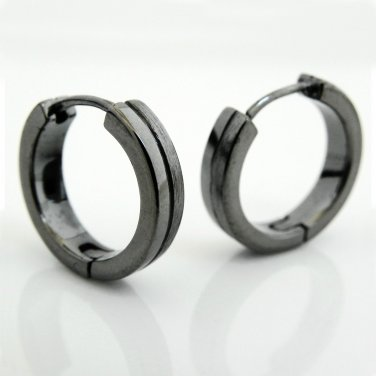 Mens earrings, dark grey duo hoop earrings,  E191MB