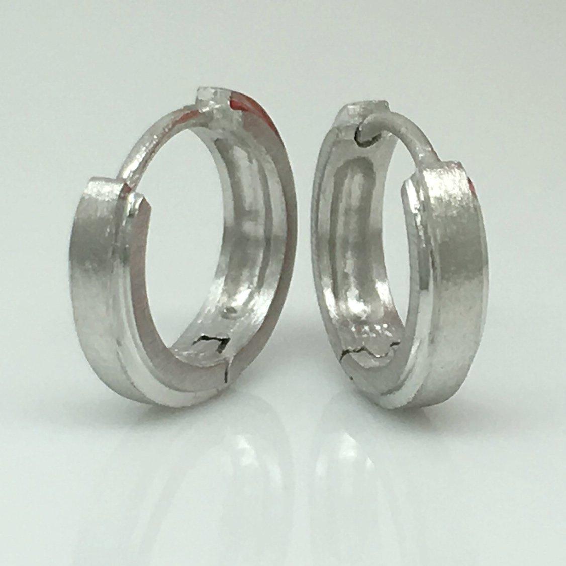 Mens white gold hoop earrings, small huggie hoop earrings, E002MW