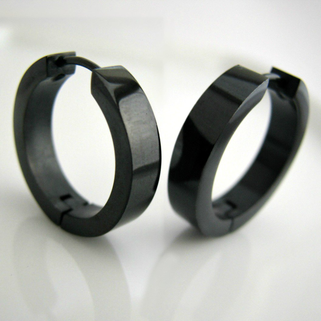 Hoop earrings for men black mens earrings stainless steel hoop earrings ex