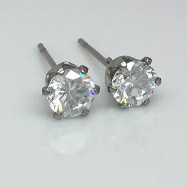 Men's diamond cz stud earrings, EC514