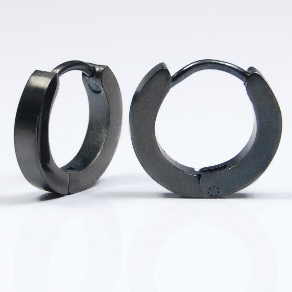Black huggie hoop earrings, earrings for men, simple hoop earrings, comfortable earrings, EC133