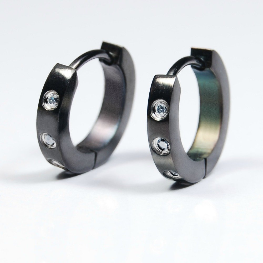 Diamond earrings for men, black huggie hoop earrings, male earrings, EC132