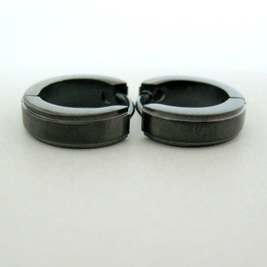 Mens earrings, black huggie hoop earrings, simple earrings, black earrings, edgeline earrings EC154