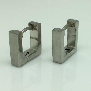 Men's square stainless steel hoop earrings, EC216