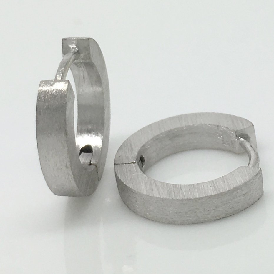 Men's sterling silver hoop earrings, 9mm inner diameter,  ECE140MW
