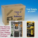 Rayovac LED Lantern (S3DLEN) - LED Flashlight and Case of 72 D cell batteries Combo Pack