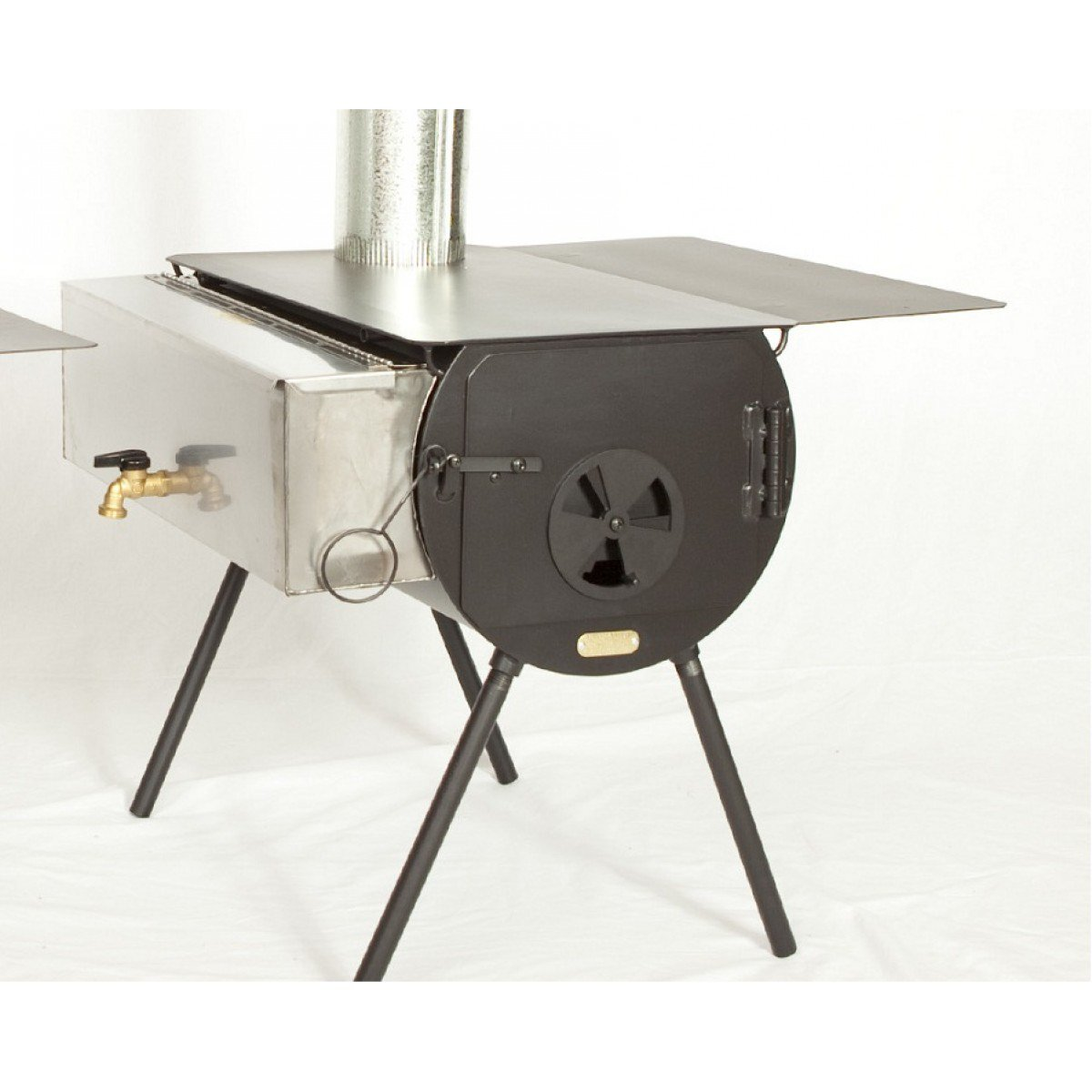 Hunter Stove Package w/Grate Tent Wood Cylinder Stove
