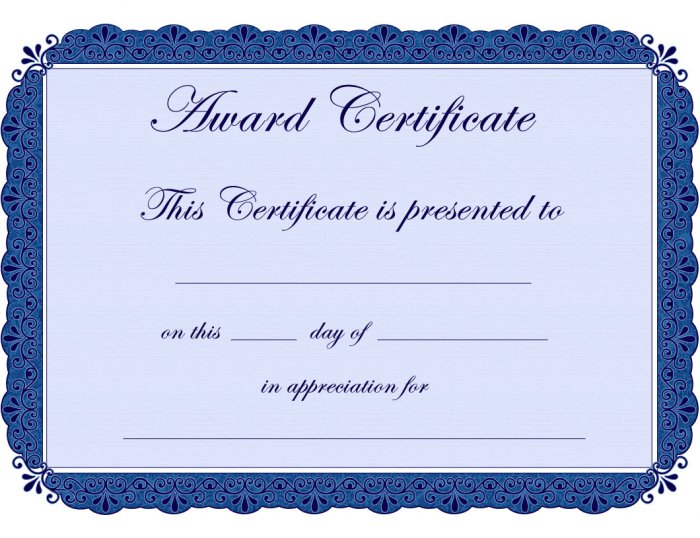 Printable Blue Award Certificate School, employees and more