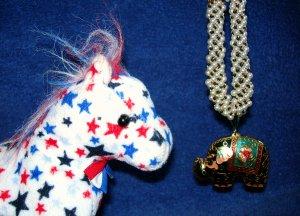 """I'm a Republican"" Elephant Necklace"