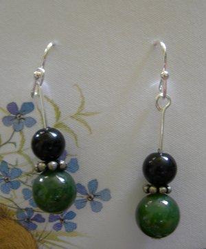 Earth toned green stone earrings