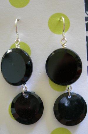 Vintage Black Button Earrings