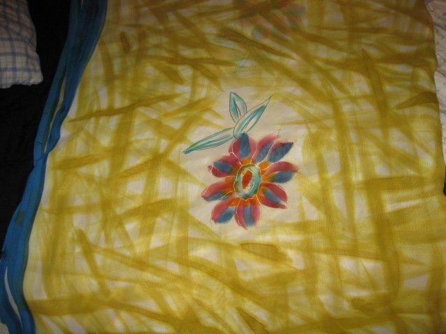 Yellow Sari with Floral Design