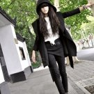 Black Fashion Long Patten with Belt Design Windbreaker for Female YM1158501