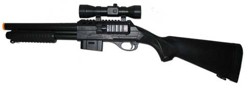 M47A2 Airsoft Benelli Style Full Stock Shotgun with Laser Scope spring powered airsoft gun
