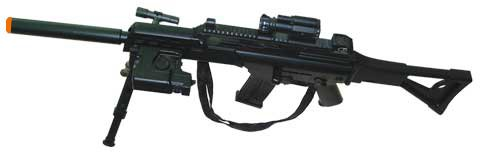 JP957: SIG Style Full Size With Bi-Pod spring powered airsoft gun rifle,