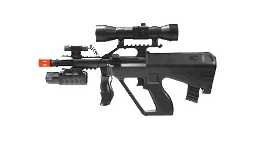 Double Eagle M45P Styer Aug with  Red Dot Laser spring powered airsoft gun rifle,