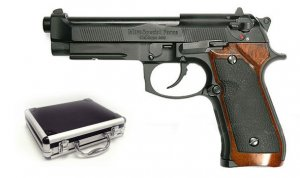 Full Metal - Semi Auto Blowback M92 - Wood Grips airsoft gun