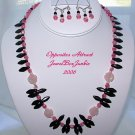 Necklace/Earring SET in Black Onyx Rose Quartz Sterling .925