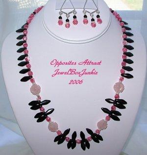 Necklace/Earring SET in Black Onyx Rose Quartz Sterling .925