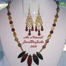 ARTISAN NECKLACE & EARRING SET w/Tiger Iron 14kt Gold Poppy & Leopardskin Jasper Swarovski
