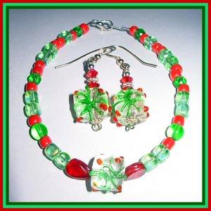 Lampwork Christmas Present Swarovski Silver Bracelet & Earring SET-FREE SHIPPING & GIFT BOXED