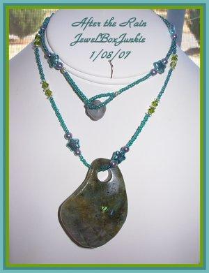 Labradorite Stone Swarovski Crystal Sterling Silver .925 Necklace Earring SET