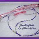 23 3/4  Toho Crystal & Pearl  Beaded Eyeglass Holder