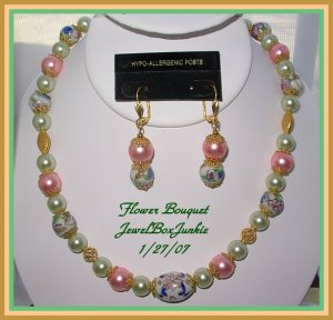 Vintage  Porcelain Bali 14kt Vermeil Glass Pearls Necklace & Earring SET