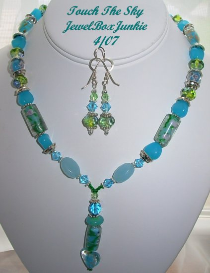 Amazonite Czech Glass Lampwork SS 925 Bali Necklace SET