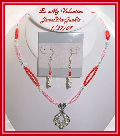 Swarovski Sterling Silver Pink & Red Necklace SET