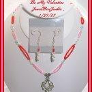 Swarovski Sterling Silver Pink & Red Necklace SET