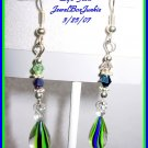 Hand blown Glass & Swarovski w SS Earrings