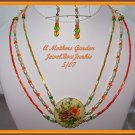 Vintage Focal Floral 3 strand Choker Necklace Earring SET