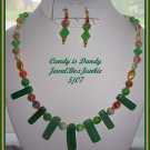 Candy and Grn Jade FW Pearls 14kt Vermeil Necklace/Earring SET