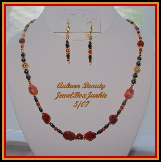 Carnelian Hematite 14 kt Vermeil Necklace Earring SET