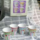 Sakura Mary Engelbreit Mugs Cherry Blossom Vintage Retro Stoneware Set 4 New
