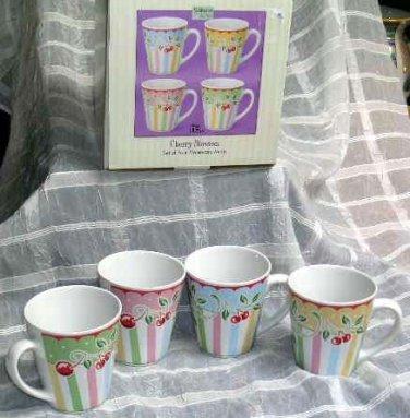 Sakura Mary Engelbreit Mugs Cherry Blossom Vintage Retro Stoneware Set 4 New