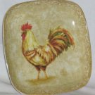 222 Fifth Plate Square Dessert Salad Decor Rustic Rooster Fleur de Lis Toile New