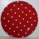 Rosanna Plate Red White Polka Dot Dessert Salad Lunch Stoneware New