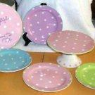 Rosanna Dessert Set Pedestal Cake Cupcake Platter & Plates Polka Dots 5pc New